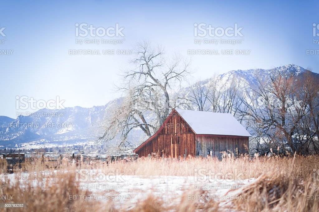 Colorado barn in the snow stock photo
