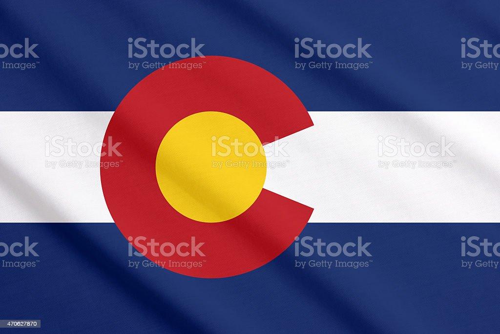 Colorado flag waving stock photo