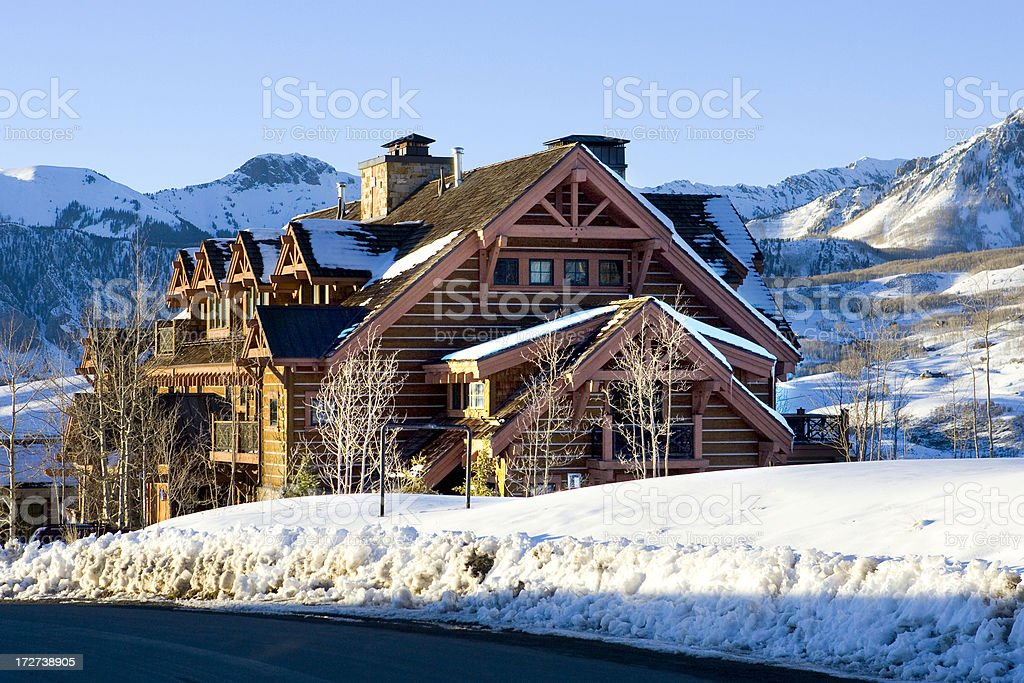 Colorado Mountain Cabin in the Snow royalty-free stock photo