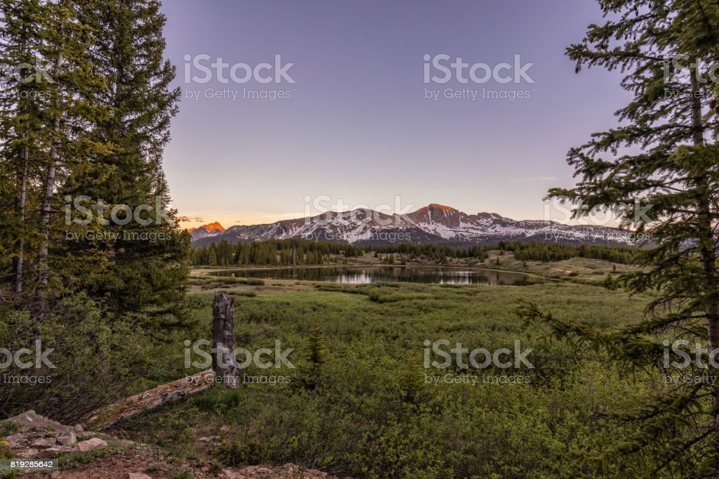 Colorado Mountain Lake at Sunset stock photo