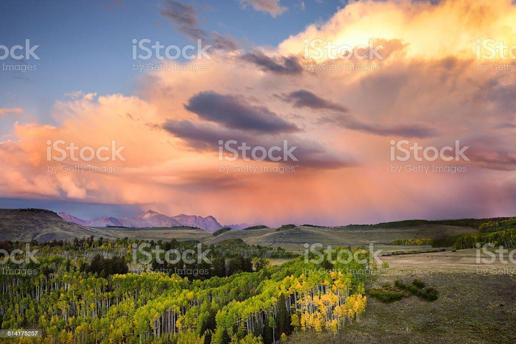 Colorado Mountain Sunset stock photo