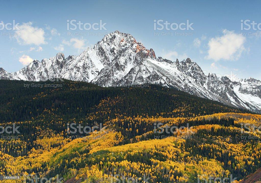 Colorado Mountains and Autumn Aspen stock photo