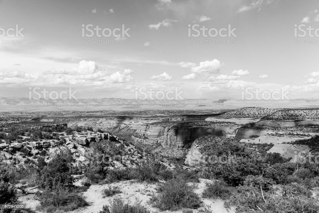 Colorado National Monument and Book Cliffs in Monochrome stock photo