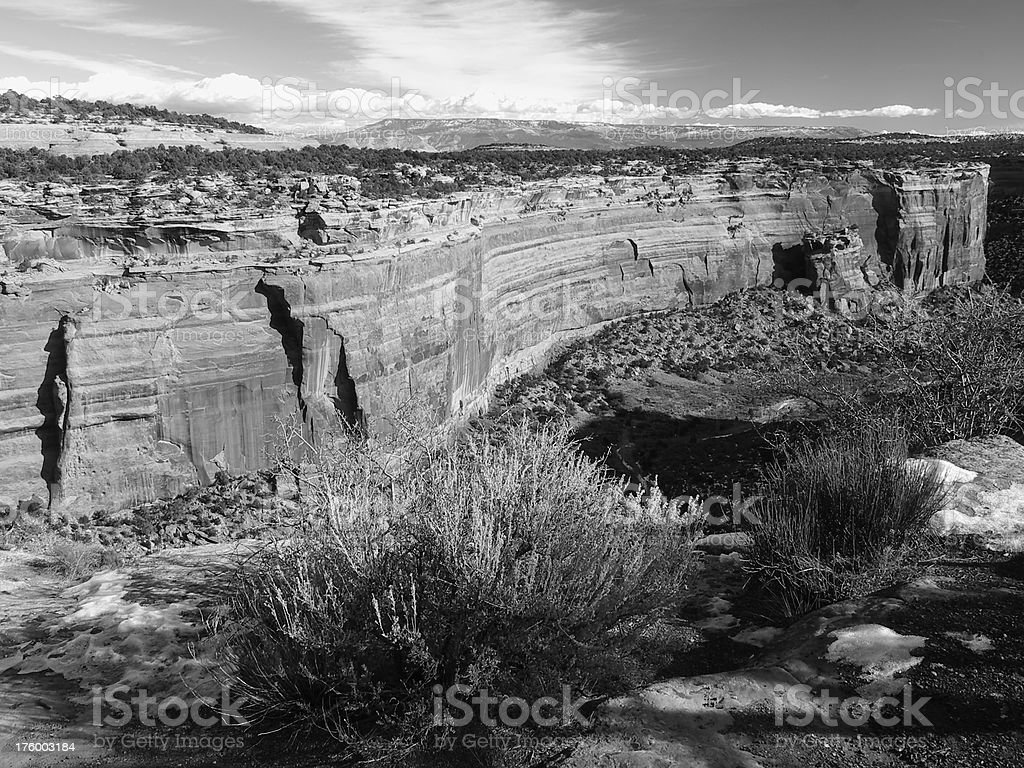 Colorado National Monument #8 - black & white royalty-free stock photo