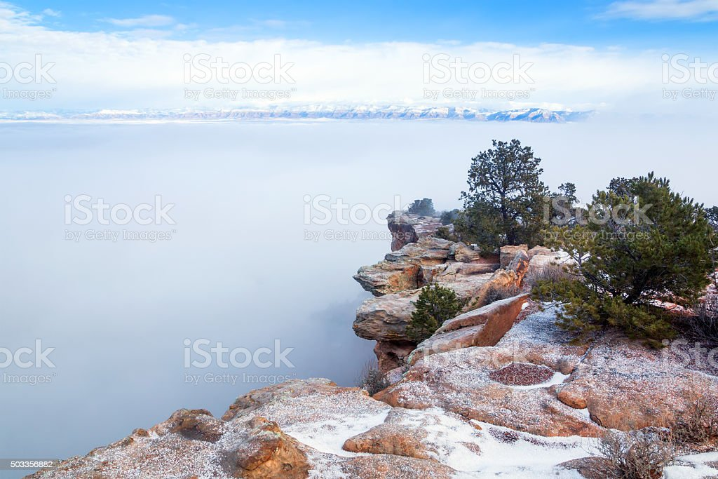 Colorado National Monument. Plateau in  snow, canyon,  fog stock photo