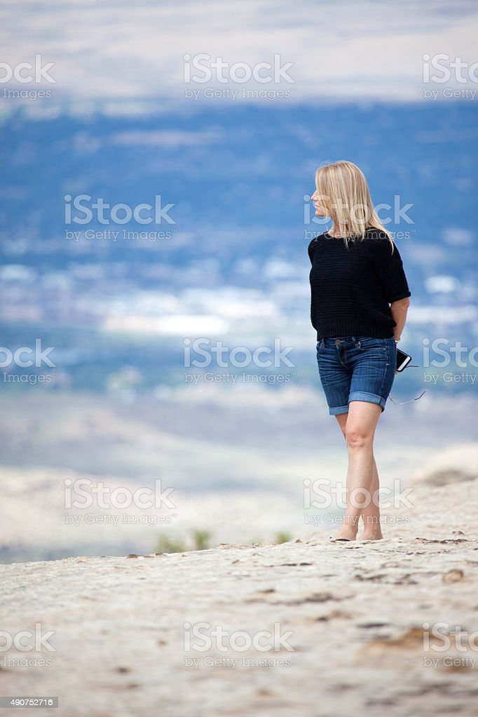 colorado national monument point of interest female stock photo
