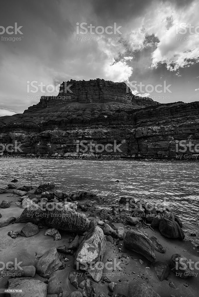 Colorado River at Lees Ferry Black and White Vertical stock photo