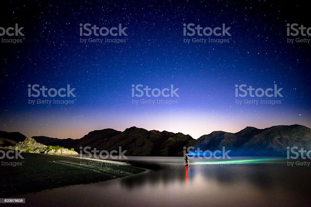 Colorado River at night stock photo