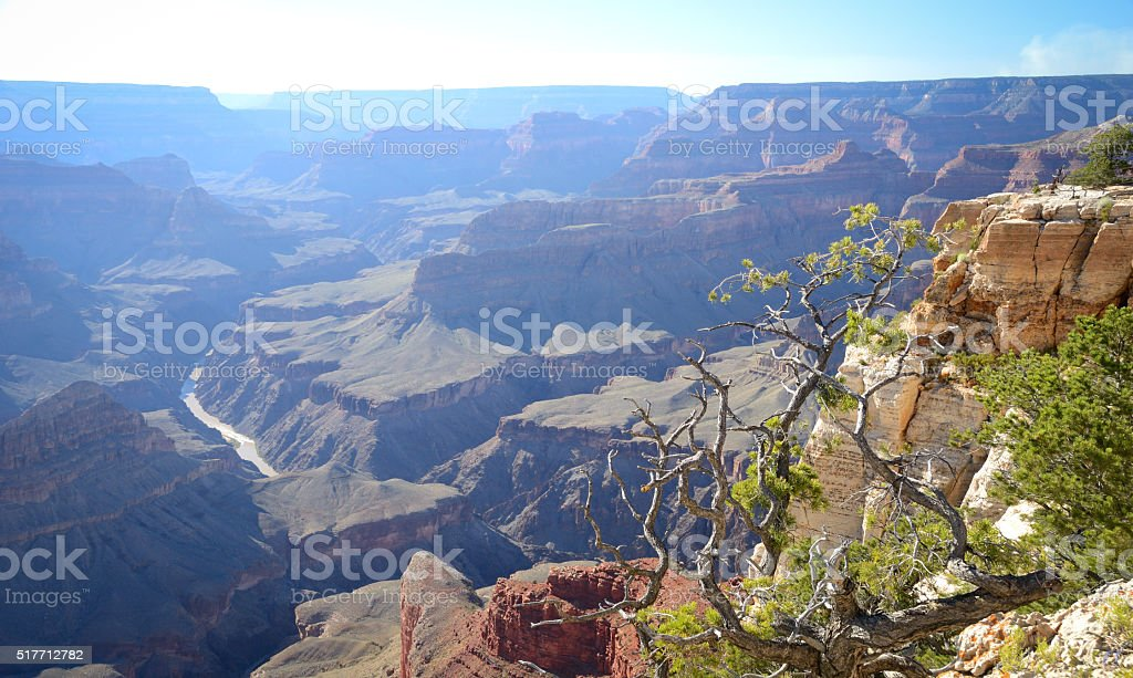 Colorado river flowing through majestic Grand Canyon stock photo