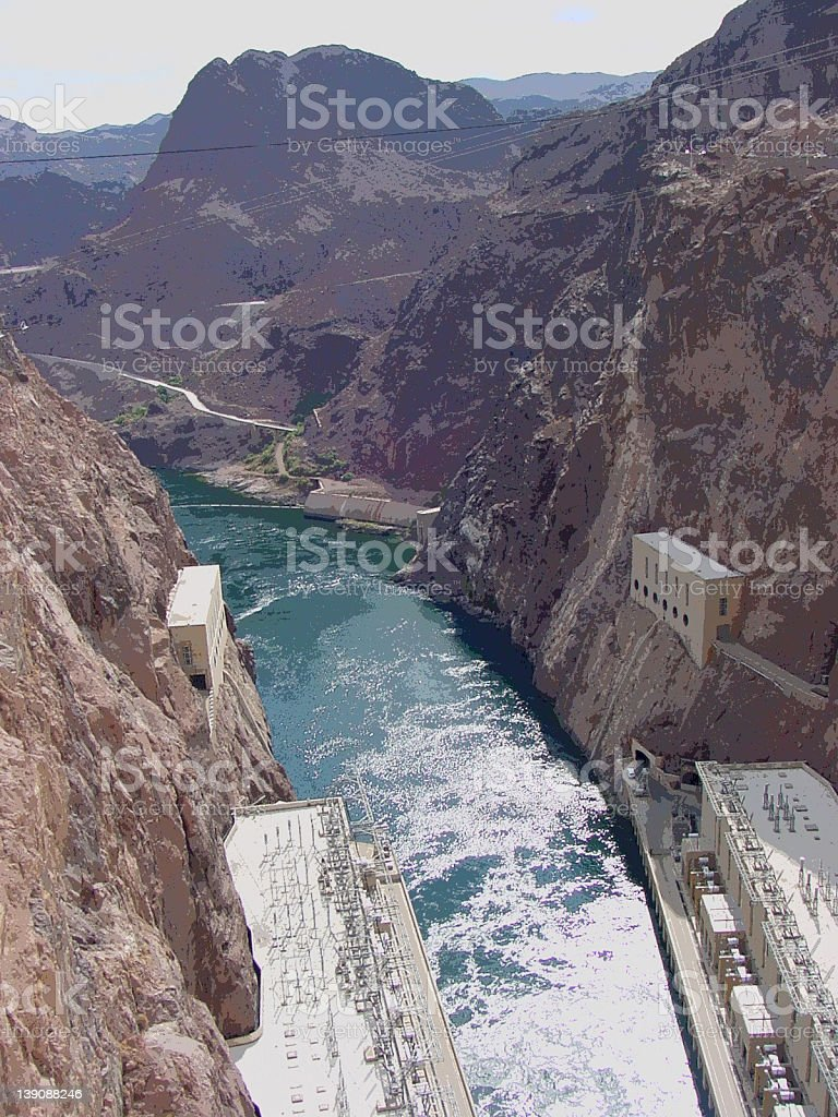 Colorado River from top of Hoover Dam stock photo