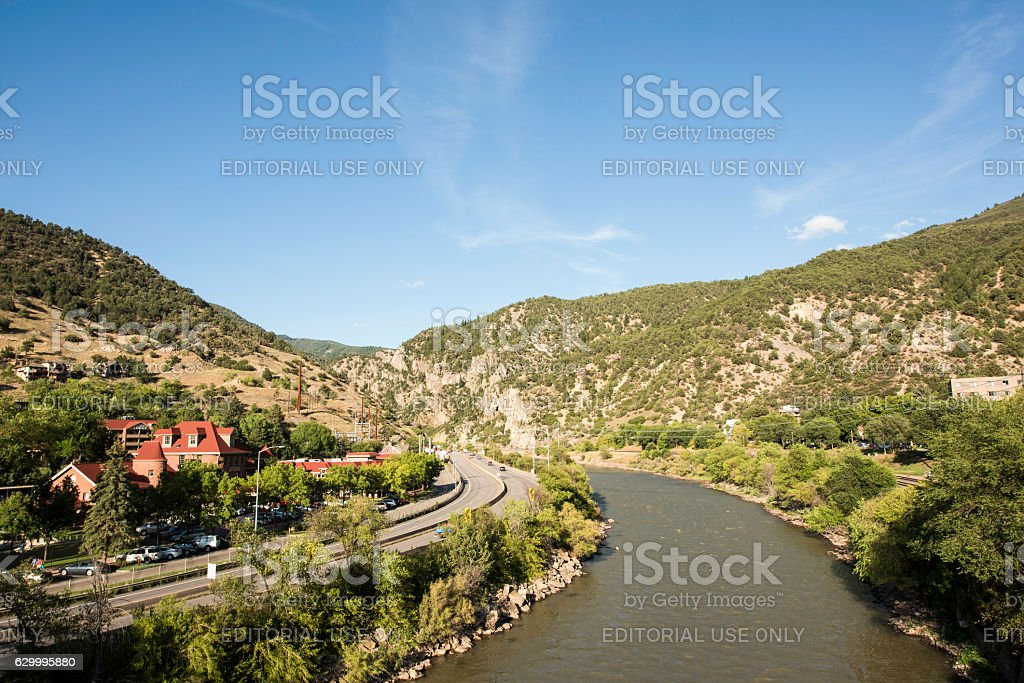 Colorado river in downtown with highway stock photo