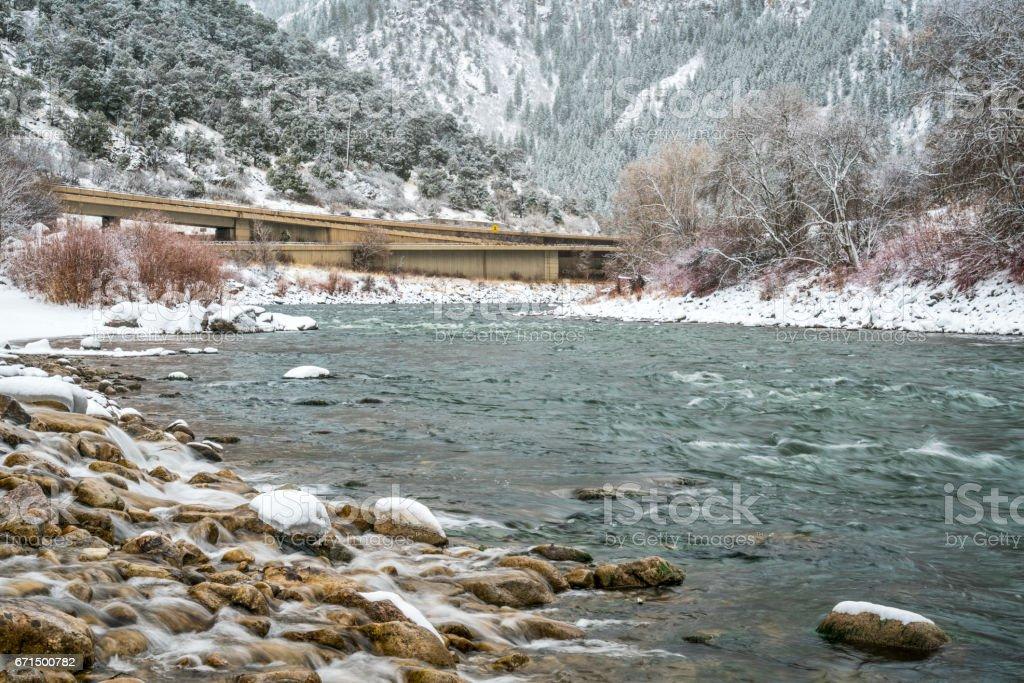 Colorado River in Glenwood Canyon stock photo