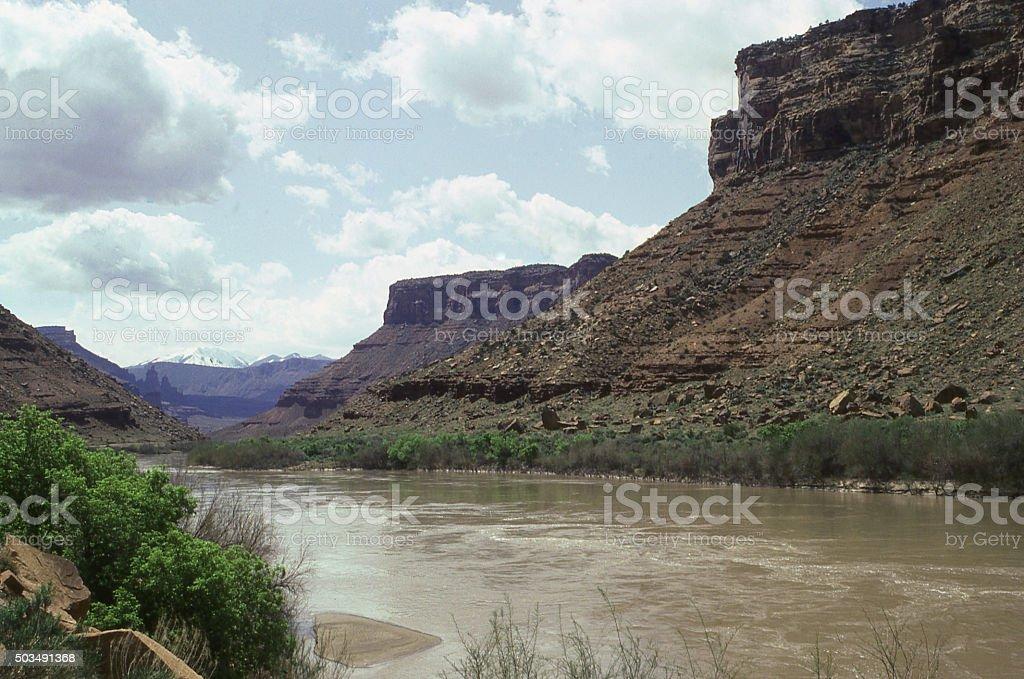 Colorado River mesas winter near Castle Valley and Moab Utah stock photo