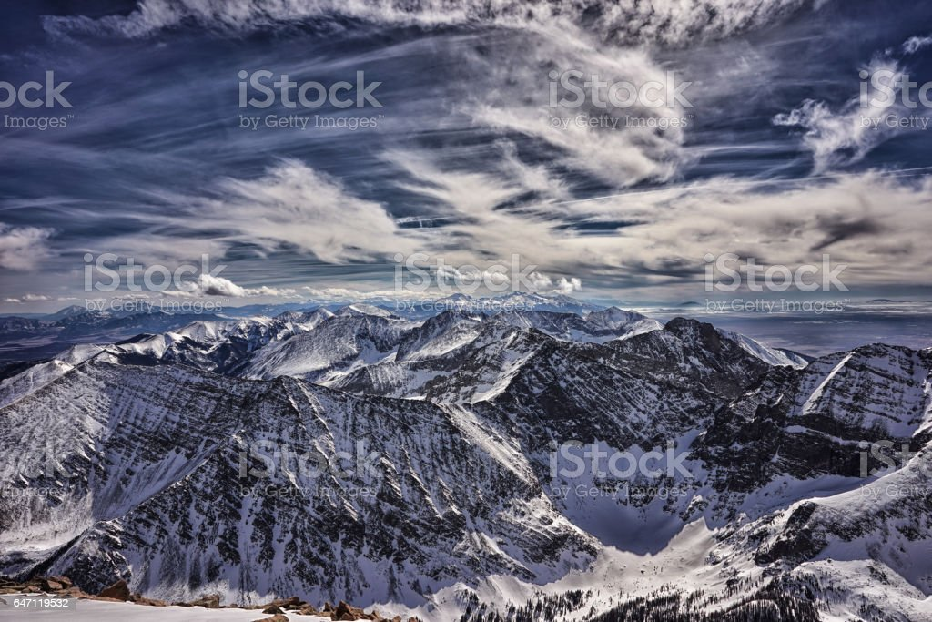 Colorado Rocky Mountain summit in winter.  Sangre de Cristo Range stock photo