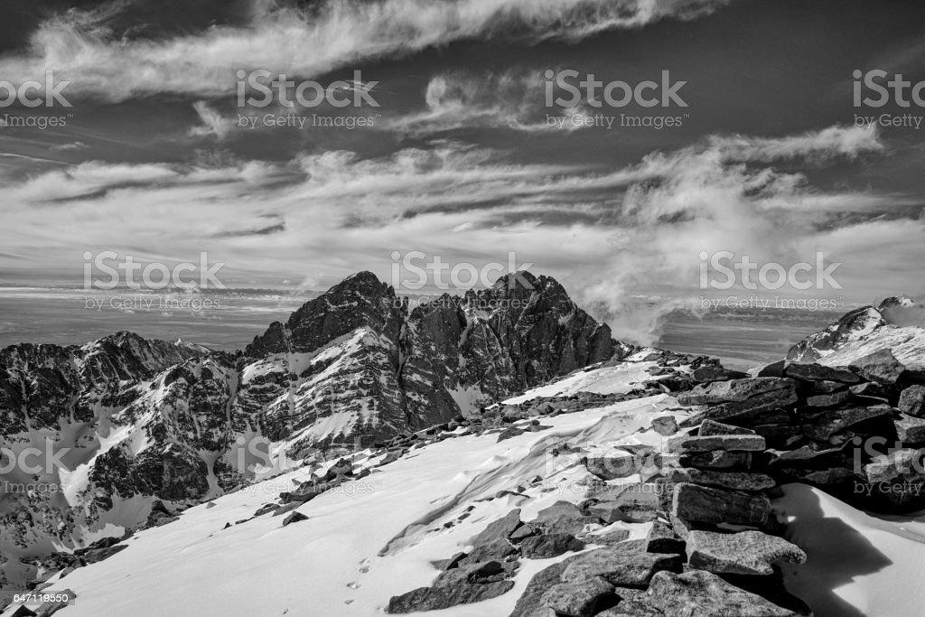 Colorado Rocky Mountain summit in winter.  The 'Crestones' stock photo