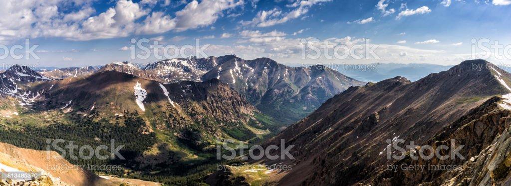 Colorado Rocky Mountains Panorama.  Sawatch Range, near Leadville stock photo