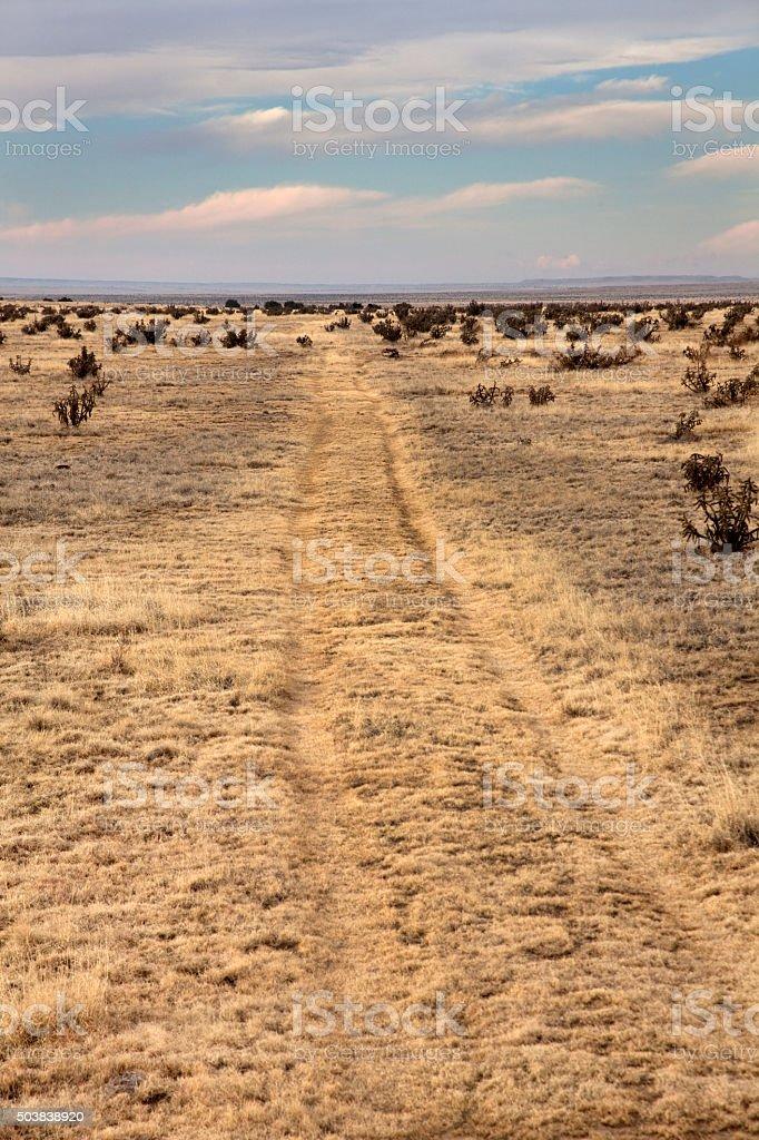 Colorado Sante Fe stagecoach trail spur wagon tail ruts stock photo