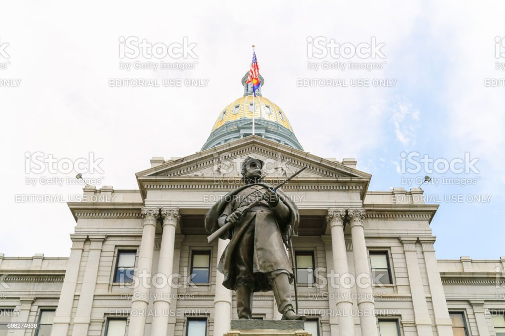 Colorado State Capitol and Civil War Monument stock photo