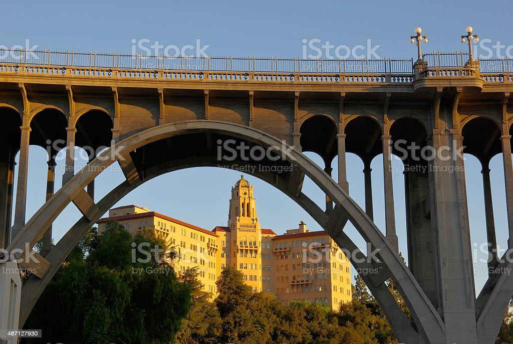 Colorado Street Bridge and US Ninth Circuit Court in Pasadena stock photo