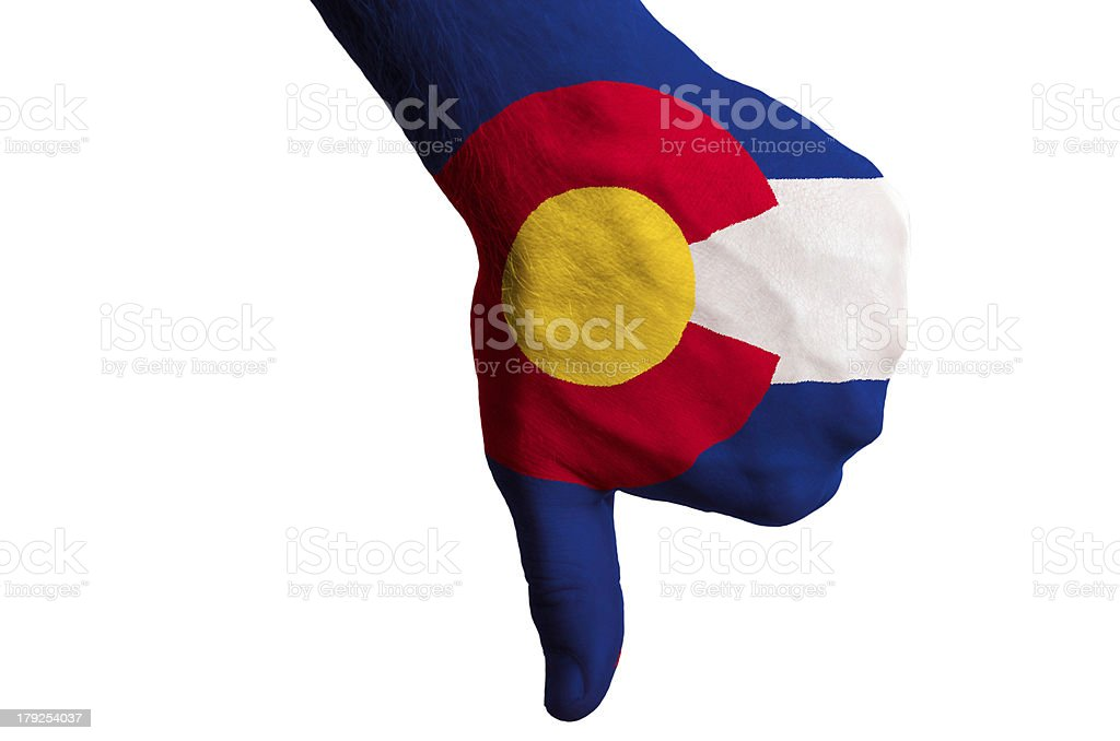 colorado us state flag thumbs down gesture for failure stock photo