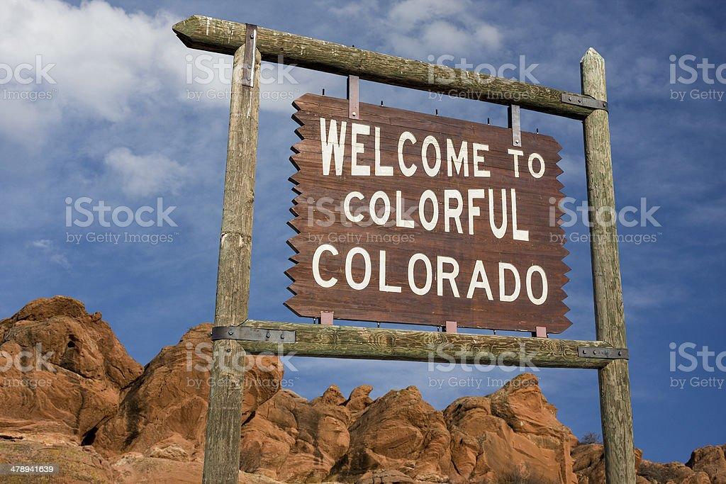 Colorado welcome sign stock photo