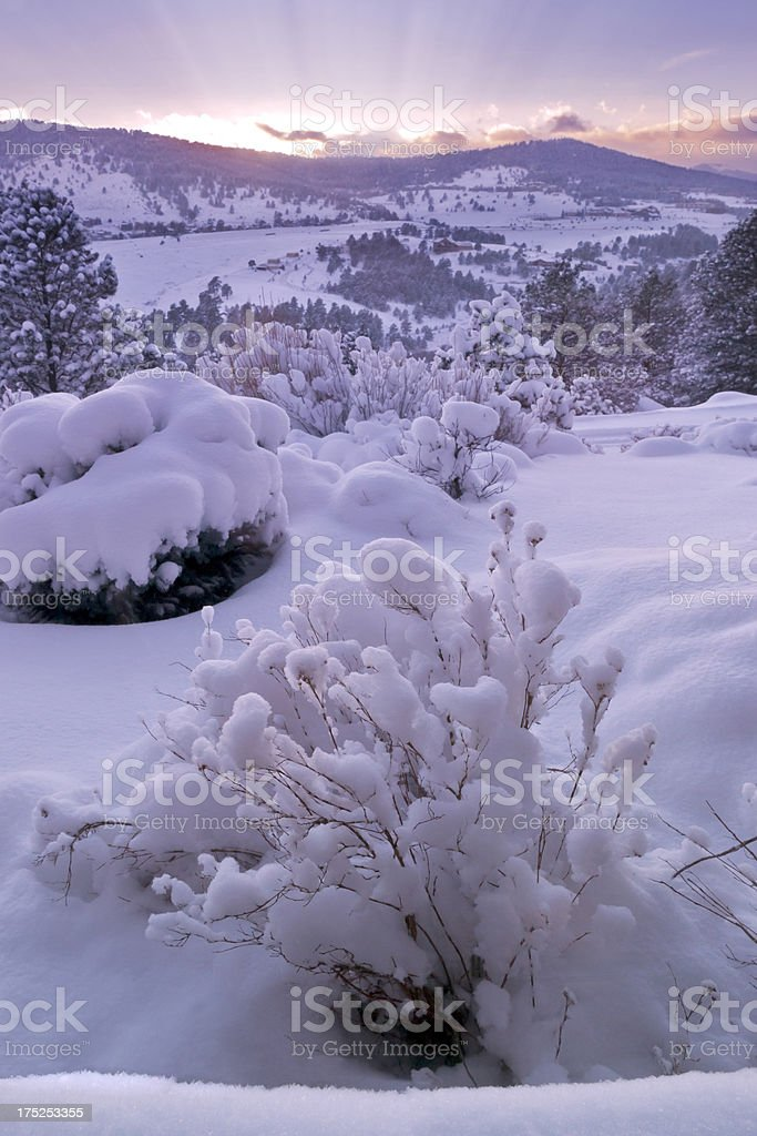 Colorado Winter Mountain Sunset royalty-free stock photo