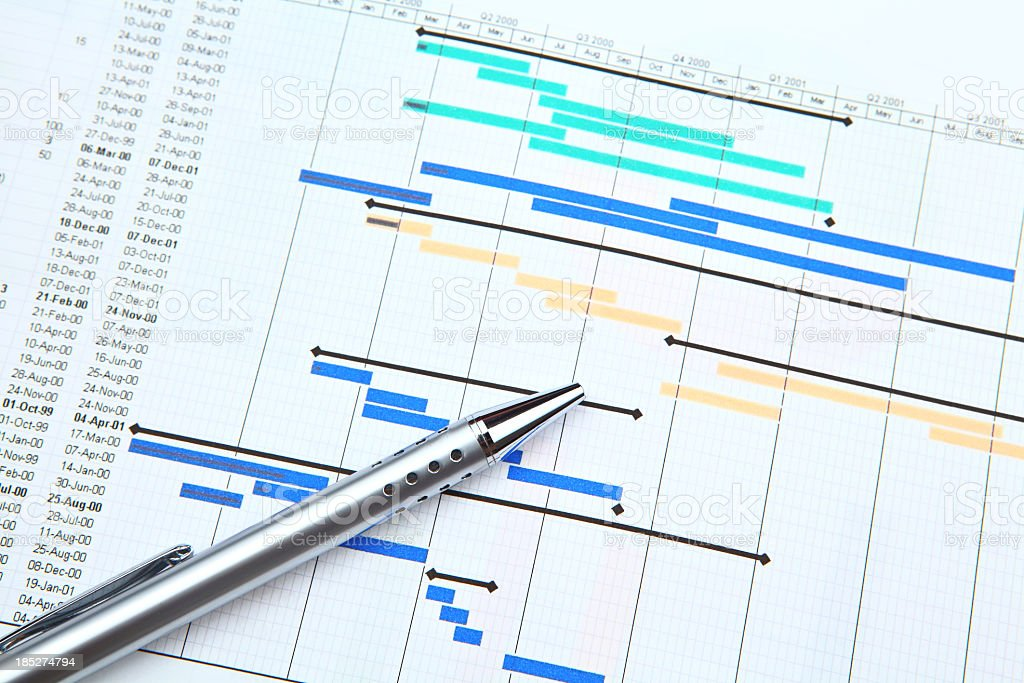 Color-coded project plan and a silver pen royalty-free stock photo