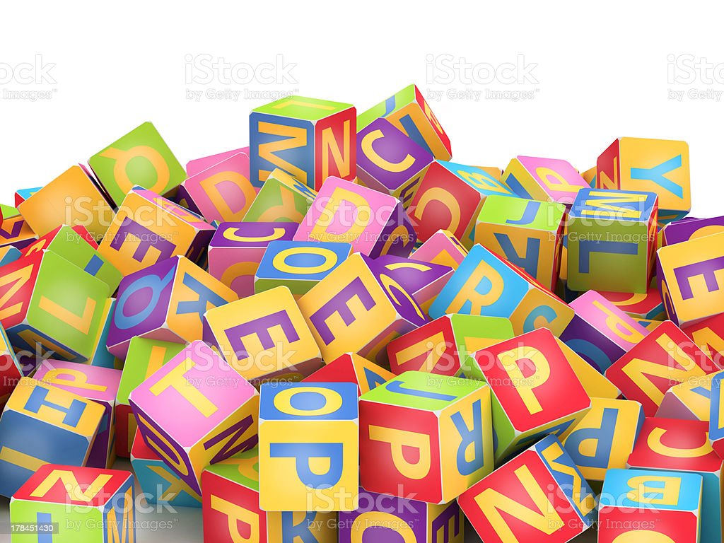 Colored ABC cube pile royalty-free stock photo