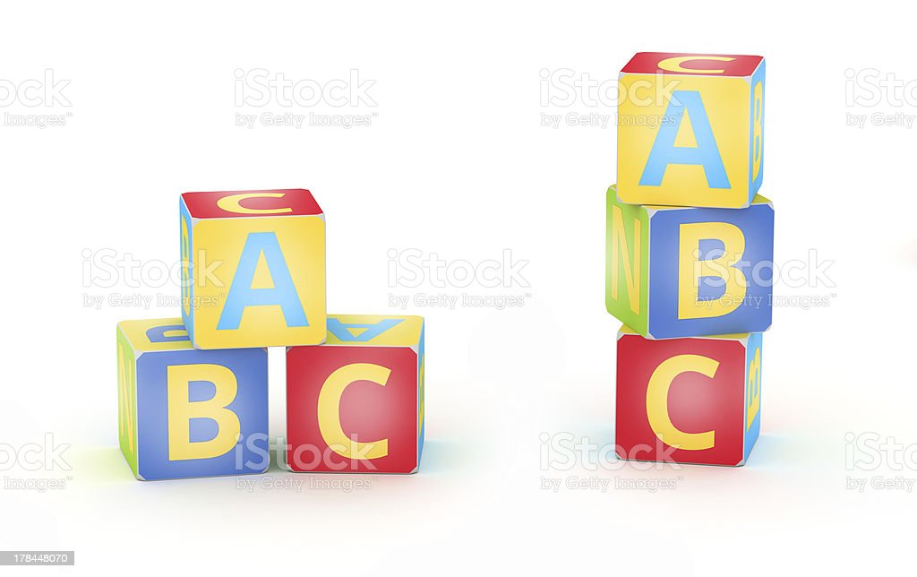 Colored A,B,C cubes royalty-free stock photo