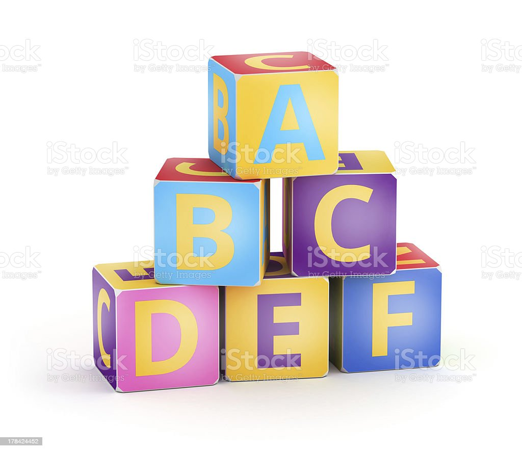 Colored A,B,C cubes pyramid royalty-free stock photo