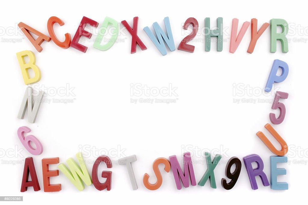 Colored alphabet frame stock photo