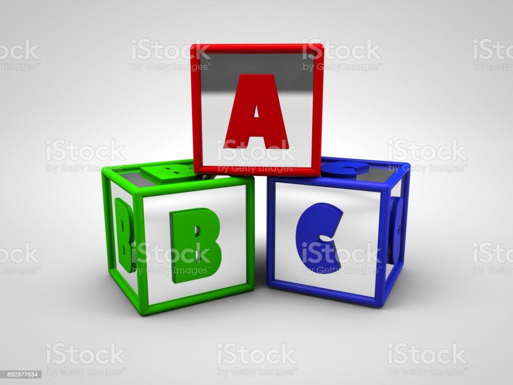 ABC colored alphabet letters 3d render stock photo