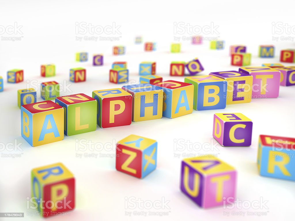 Colored alphabet spelled by abc cubes royalty-free stock photo
