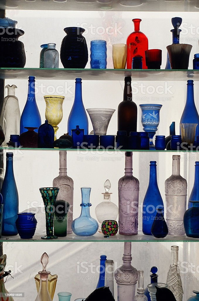colored ancient bottles stock photo
