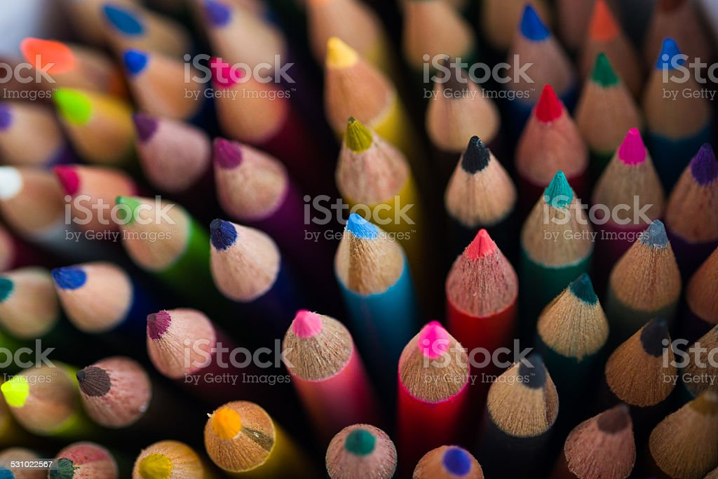 Colored Art Pencil Closeup Detail stock photo