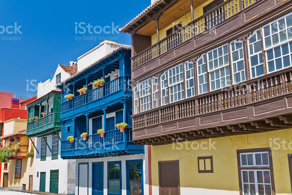 Colored Balconies, Santa Cruz de la Palma stock photo