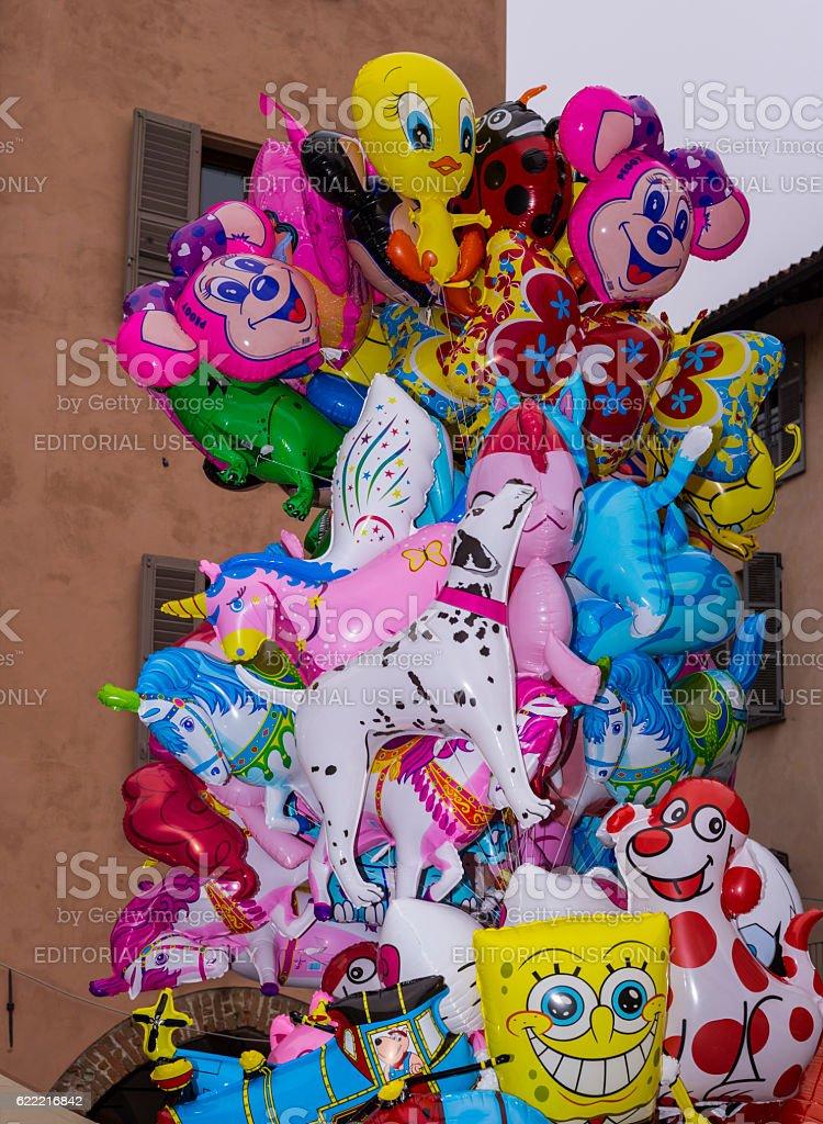 Colored balloons (Alba, Piedmont, Italy) stock photo