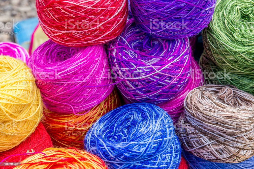 Colored balls of wool stock photo