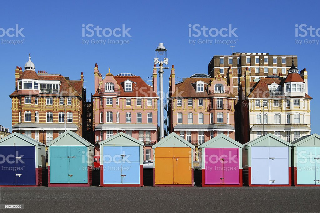 Colored beach huts at Brighton. East Sussex. England stock photo