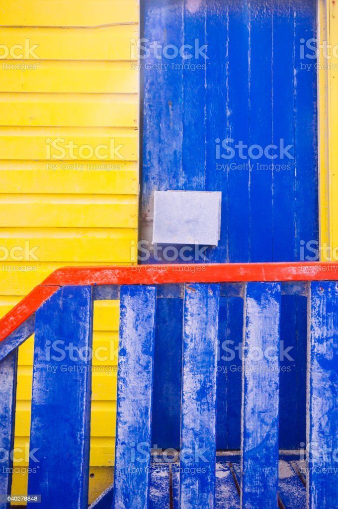 Colored beach huts in Muizenberg, South Africa stock photo