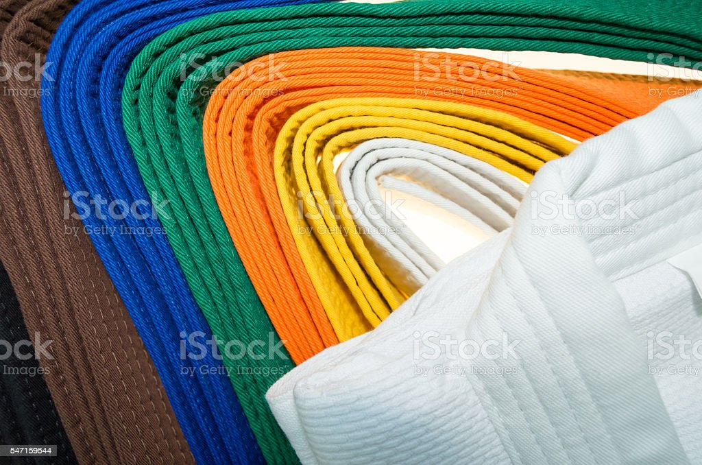 colored belts in martial arts,  part of judo uniform stock photo