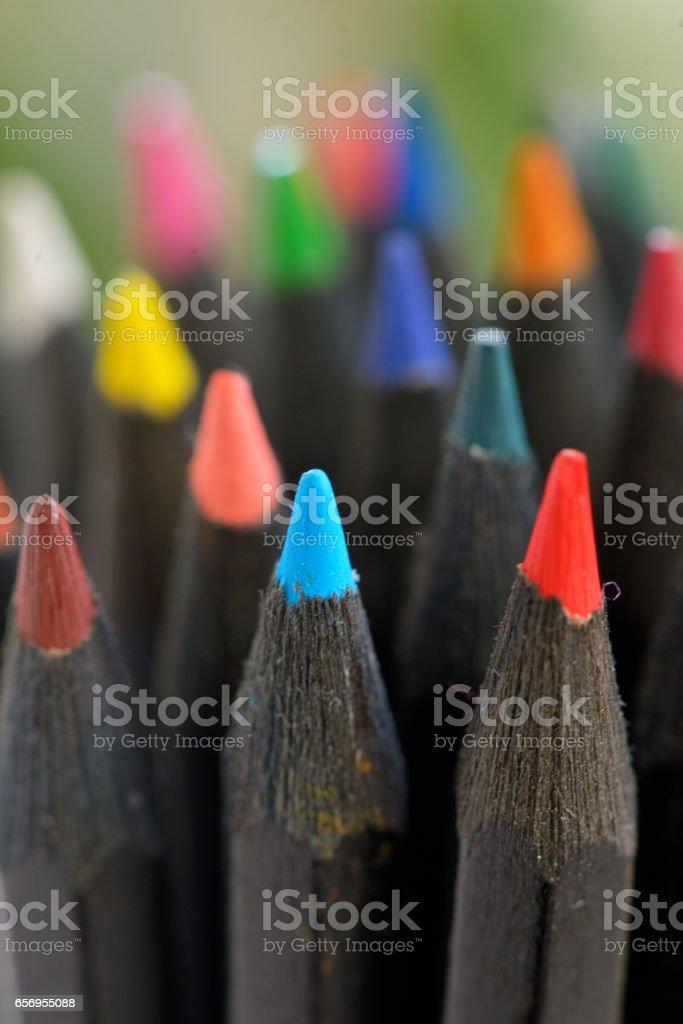 Colored  black pencils in jar stock photo