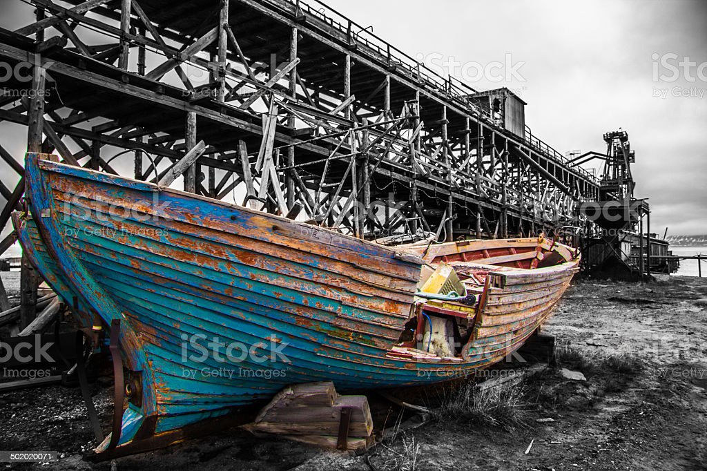 colored boat wreck w royalty-free stock photo