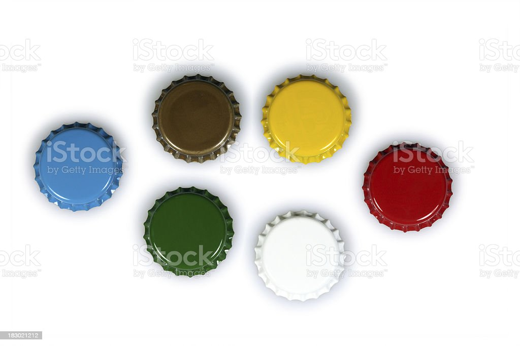 Colored bottle caps stock photo