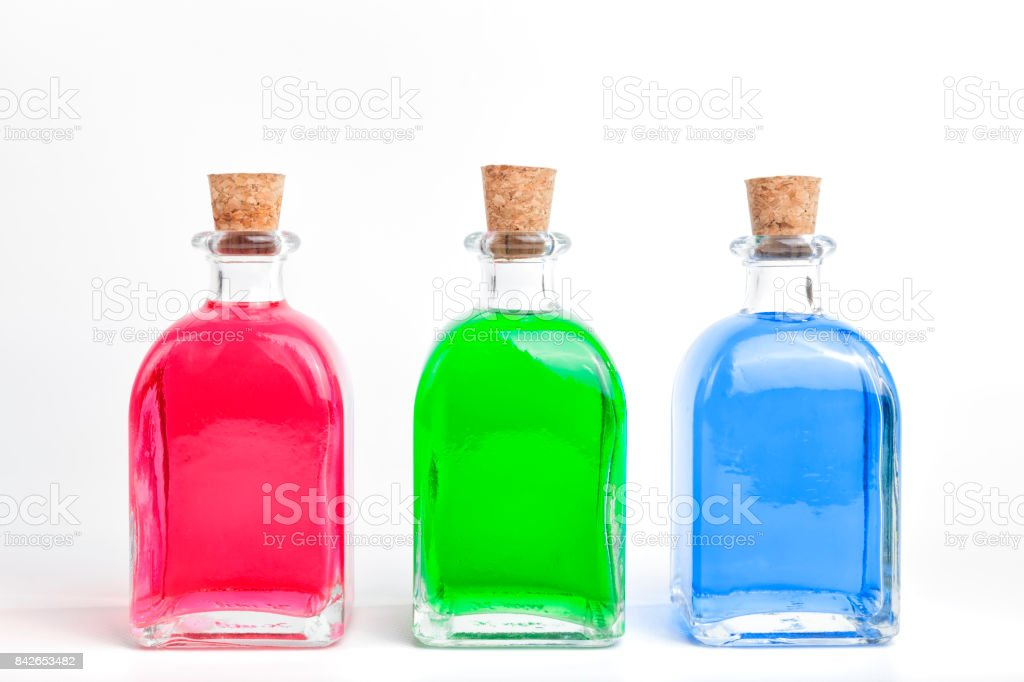 Colored bottles. stock photo