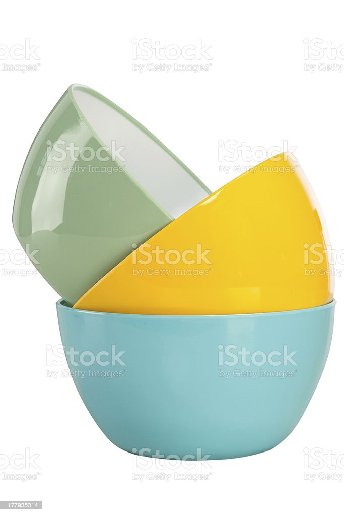 Colored bowl on the white royalty-free stock photo