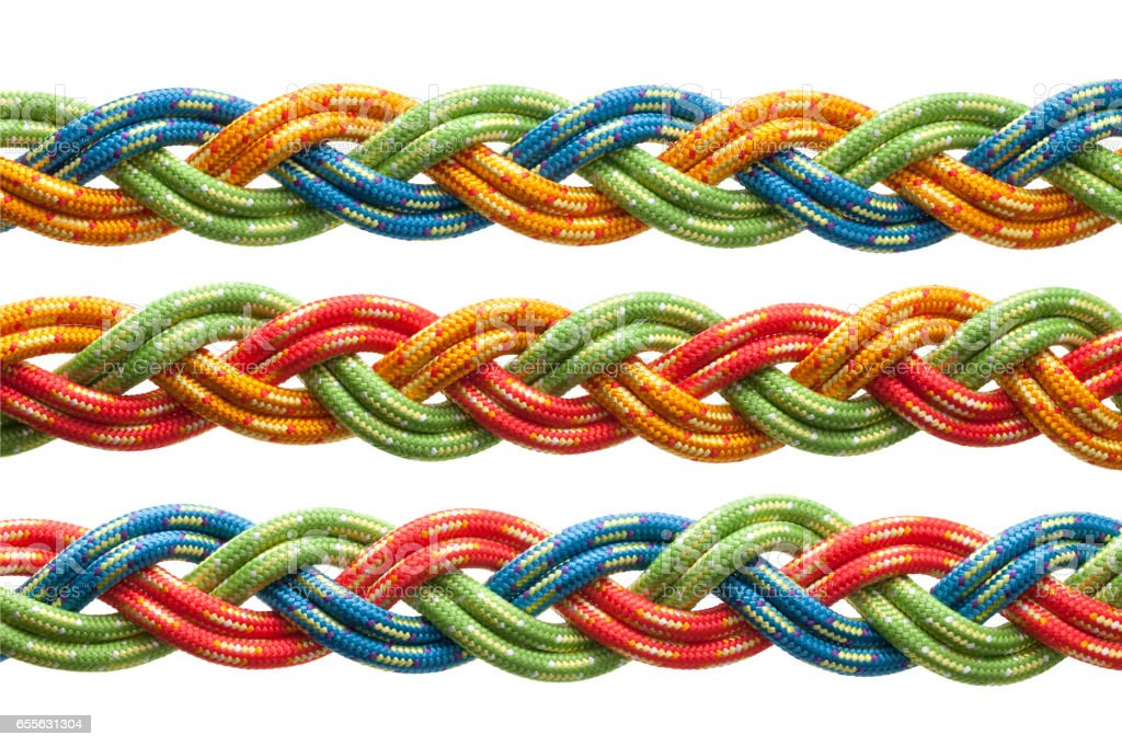 Colored braided ropes stock photo