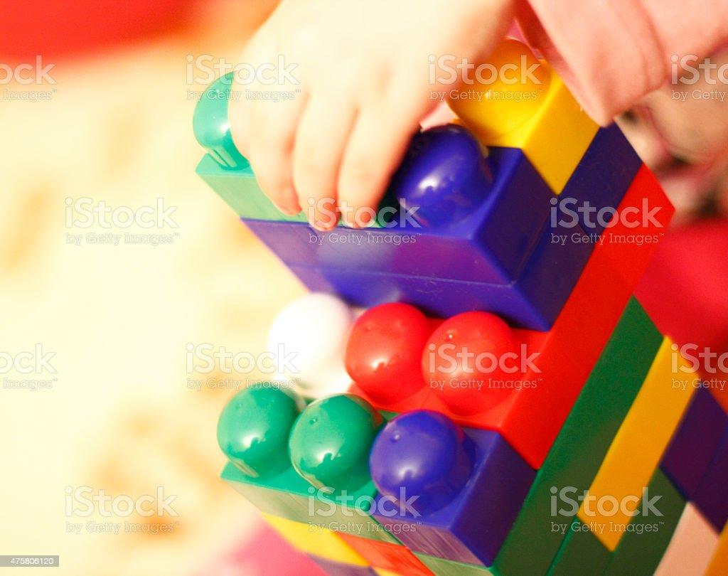 Colored bricks stock photo