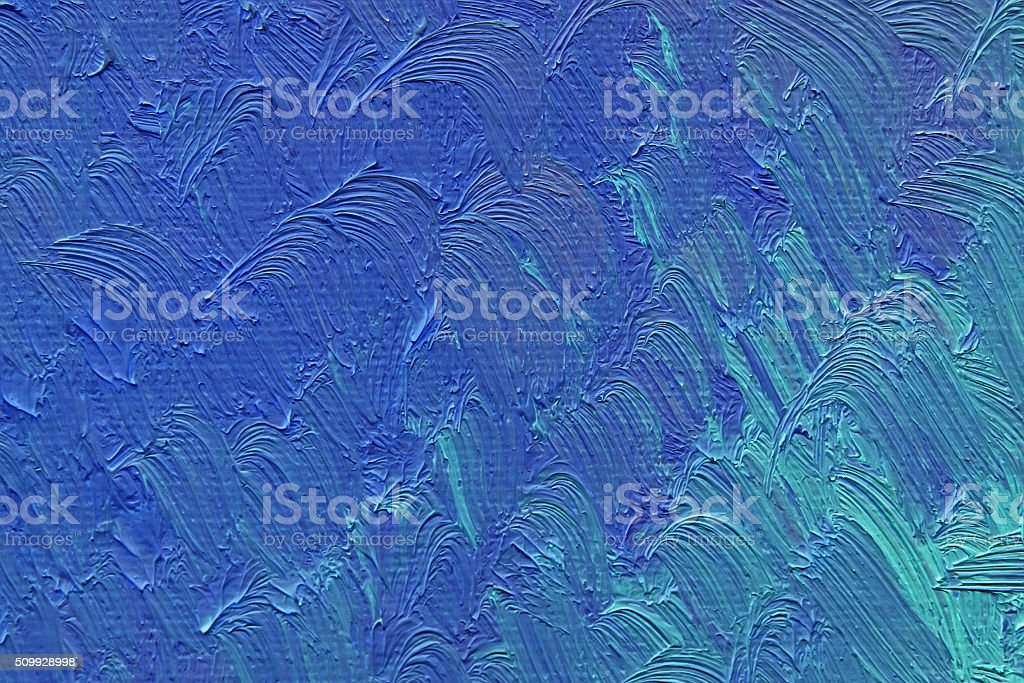 Colored brushstrokes of blue oil paint on canvas vector art illustration