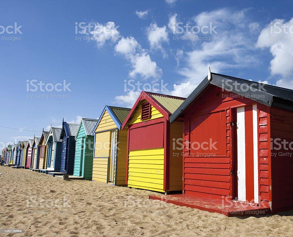 Colored Cabins along the Beach, Melbourne, Australia stock photo